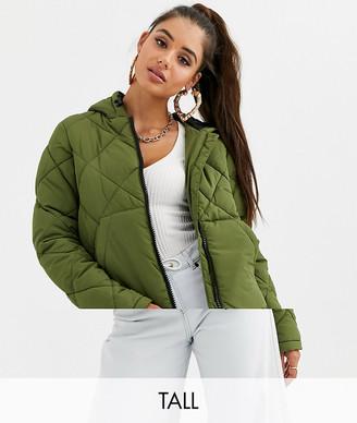 Noisy May Tall grid padded hooded jacket-Green