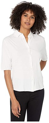Majestic Filatures Cotton Silk Hand Shirt with Back Pleat (Blanc) Women's Clothing