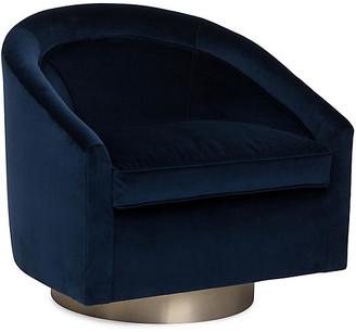 Kim Salmela Benson Swivel Club Chair - Indigo Velvet