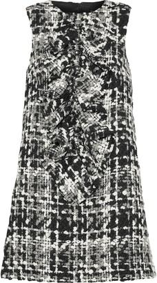 Dolce & Gabbana Ruffled Wool-blend Boucle-tweed Mini Dress