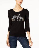 Karen Scott Petite Cotton Zebra Graphic Top, Only at Macy's