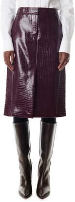 Tibi Croc-Embossed Patent Trouser Skirt