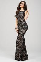 Jovani Full Lace Plunging Back Sheath Long Dress 21789
