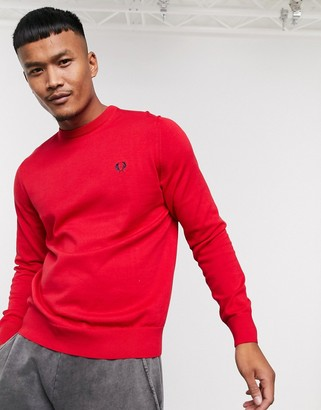 Fred Perry classic cotton crew neck sweater in red