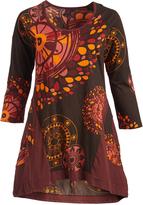 Aller Simplement Bordeaux & Black Medallion Sidetail Shift Dress - Plus Too