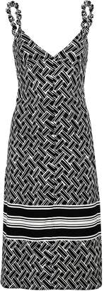 Bottega Veneta black and white woven print dress