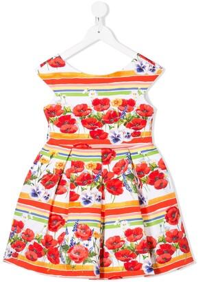 Abel & Lula Sleeveless Pleated Floral Print Dress