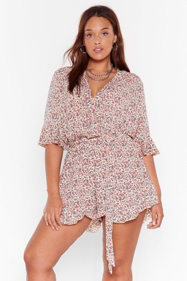 Nasty Gal Womens Plant Ignore the Signs Plus Floral Romper - White