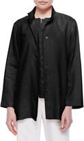 Go Silk Petite Linen Button-Front Jacket