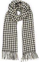 Reiss Marlin - Houndstooth Scarf in Black, Womens