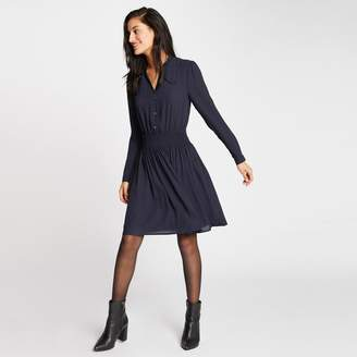 Morgan Flared Button Shirt Dress with Long Sleeves