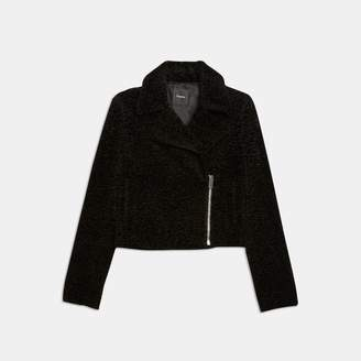 Theory Embossed Faux Fur Slim Moto Jacket