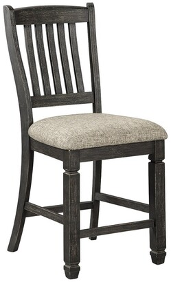 Signature Design by Ashley Tyler Creek Upholstered Barstool, Black/Grayish Brown - Counter Height Barstool