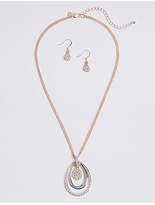 M&S Collection Sparkle Circle Necklace & Earrings Set