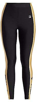 Fila Women's Jade High-Waist Side Metallic Stripe Leggings