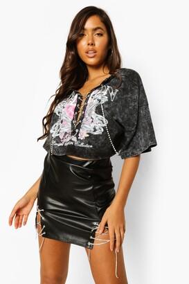boohoo Diamante Lace Up Faux Leather Mini Skirt
