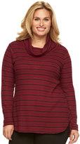 Dana Buchman Plus Size Striped Textured High-Low Tunic