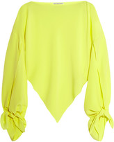 Balenciaga Neon Asymmetric Silk-georgette Top - Bright yellow