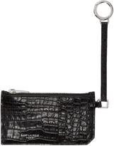 Saint Laurent Black Croc-embossed 5-fragments Keyring Zip Card Holder