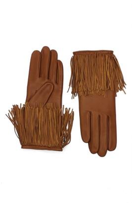 Agnelle Fringe Lambskin Leather Gloves