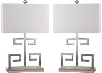 One Kings Lane Set of 2 Greek Key Table Lamps - Silver