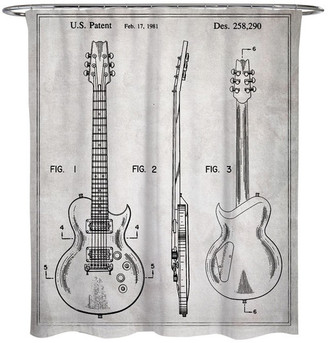 """Oliver Gal Electric Guitar 1981"""" Shower Curtain, 71""""x74"""""""