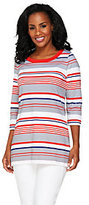 As Is Denim & Co. 3/4 Sleeve Striped Knit Tunic with Side Slits