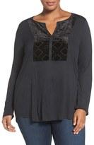 Lucky Brand Plus Size Women's Burnout Velvet Bib Knit Top