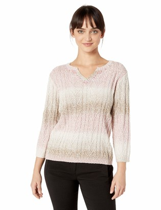 Alfred Dunner Women's Home for The Holidays Ombre Striped Sweater (Petite Large) PL