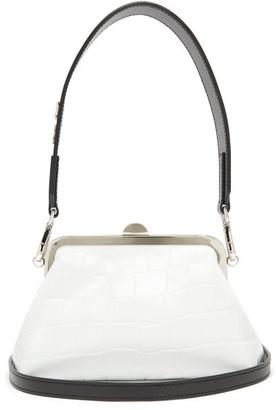 Marques Almeida Marques'almeida - Crocodile-effect Leather Clasp Bag - Womens - White