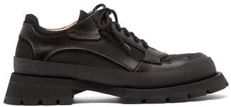 Jil Sander Exaggerated Sole Leather Trim Derby Shoes - Mens - Black