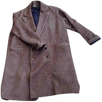 Les Prairies de Paris Brown Wool Coat for Women