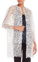 Carolina Herrera Sheer Feather Trim Jacket
