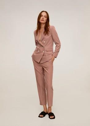 MANGO Cropped modal trousers pink - 1 - Women
