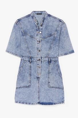 Nasty Gal Womens Acid Wash 'n' Learn Denim Mini Dress - Blue - 6