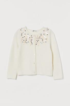 H&M Sequin-embellished Cardigan - White