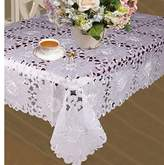 """Cabernet Embroidered Sunflowers With Cutwork Tablecloths 70"""" X 105"""" - In Ivory"""