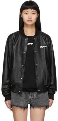 Off-White Black Leather Arrows Bomber Jacket