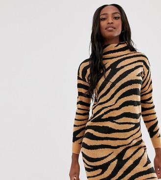 Brave Soul Tall zigby animal print roll neck jumper dress