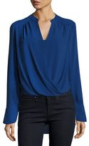 BCBGMAXAZRIA Jaklyn Surplice Top, Dark Teal
