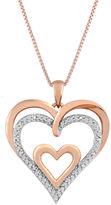 JCPenney FINE JEWELRY 1/10 CT. T.W. Diamond Openwork Triple-Heart Pendant Necklace