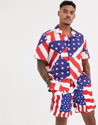 Asos DESIGN relaxed fit shirt in america flag print