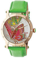 Isabella Collection Women's Bertha BR4305 - Green Leather/Multicolored Analog Watches