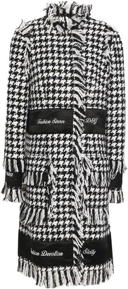 Dolce & Gabbana Fringed Satin-paneled Houndstooth Wool-blend Tweed Coat
