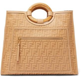Fendi Runaway Ff-embossed Leather Tote Bag - Tan