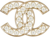 One Kings Lane Vintage Pearl Chanel Logo Brooch