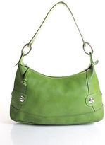 Longchamp Green Leather Logo Front Silver Tone Hardware Hobo Shoulder Handbag