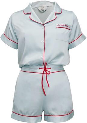 Not Just Pajama Love Embroidery Silk Short Pyjamas Set - Light Blue