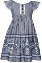 Bonnie Jean Girls 4-6x Chambray Embroidered Dress