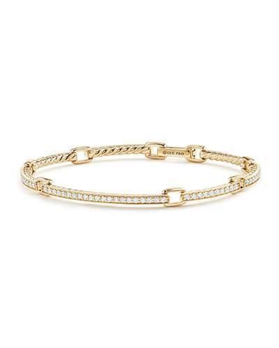David Yurman Petite Pavé Diamond Link Bracelet in 18k Yellow Gold, Size Medium